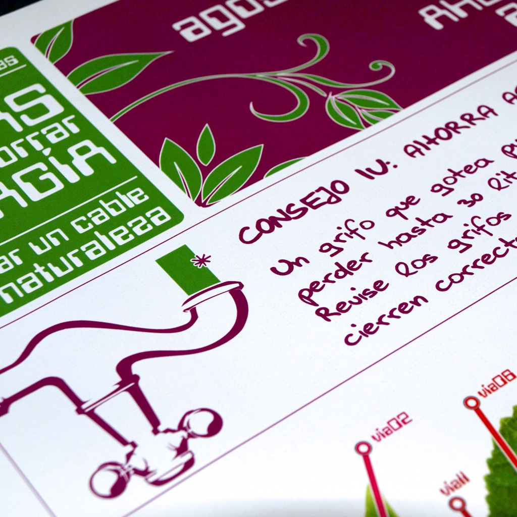 Diseño de piezas de difusión para la campaña de ahorro de agua de Feve y Faen