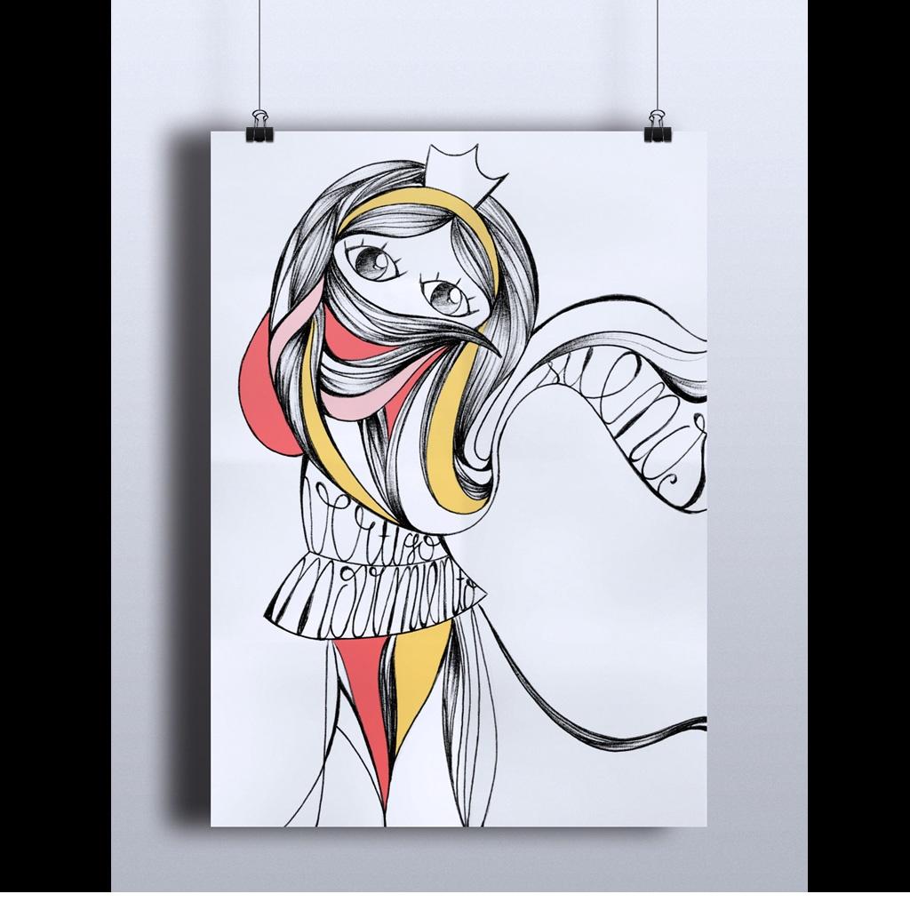 Ilustración realizada en papel con bolígrafo bic y retoque digital