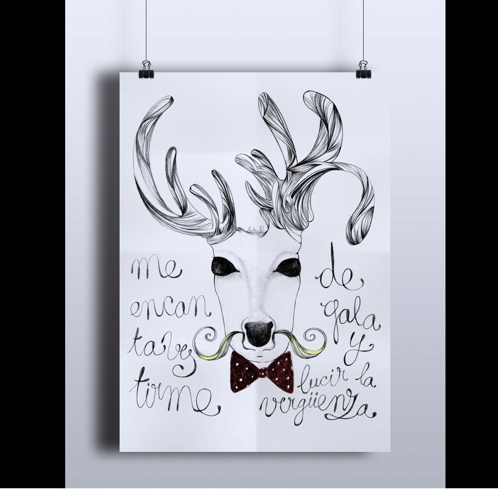 Ilustración realizada en papel con grafito y retoque digital