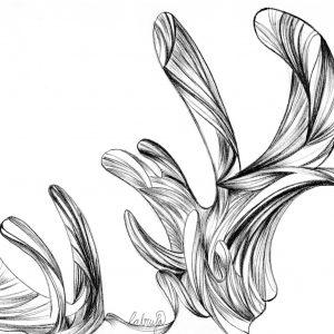 ilustración realizada en papel, con grafito y retocada digitalmente
