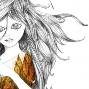 Ilustración realizada en papel y grafito, con acabado digital