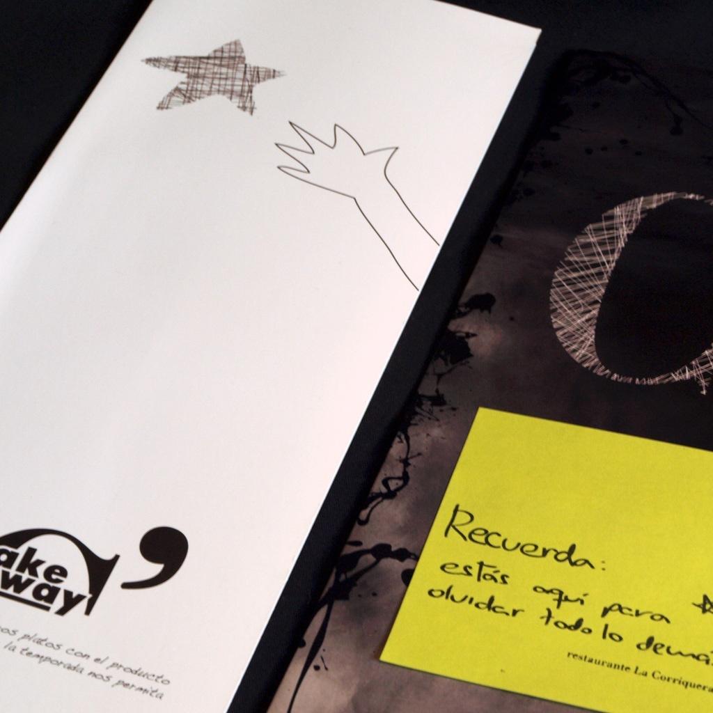 Diseño para las cartas de platos y take away de La Corriquera
