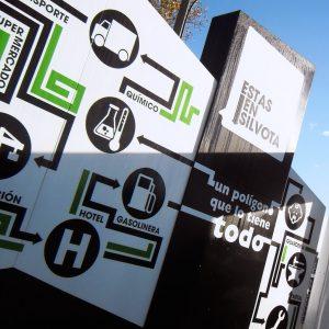 Diseño de monolito de bienvenida del polígono industrial de Silvota
