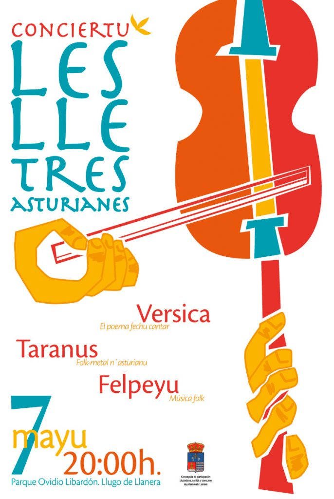 Cartel e ilustración para el concierto en asturiano