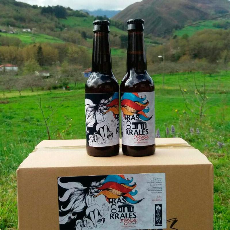 Ilustración con tinta y retoque digital para etiqueta de cerveza