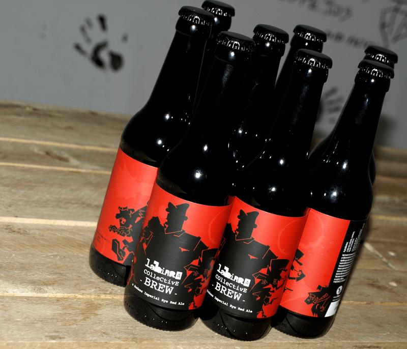 Diseño de etiqueta para labirracollective, cerveza artesana de vivalabirra en colaboración con Alkimia