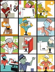 Diseño e ilustraciones de calendario de prevención de riesgos laborales, PRL