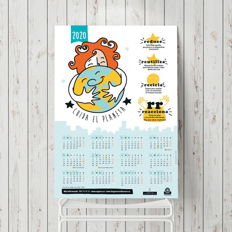 Ilustración, diseño y maquetación para calendario de Cogersa