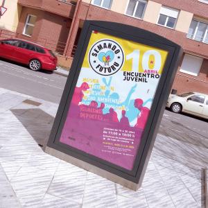 """Diseño de logotipo, cartel, mupi y piezas para difusión de la campaña """"semando futuru"""" del Ayuntamiento de Llanera"""