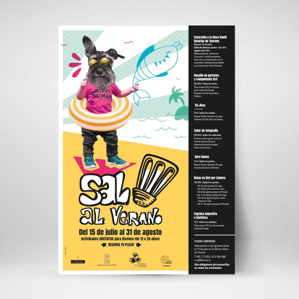 Cartel Diseño e ilustración para campaña de verano sal al verano en Llanera